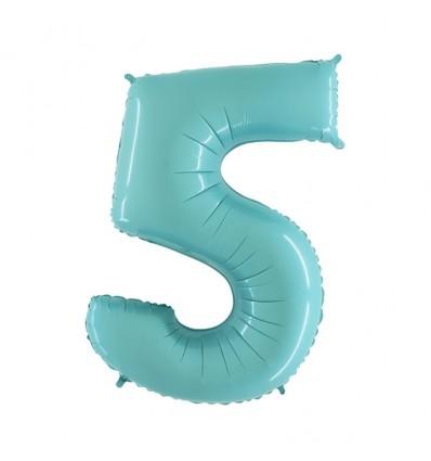 Folieballon cijfer '5' l. blauw (100cm)