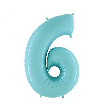 Folieballon cijfer '6' l. blauw (100cm)