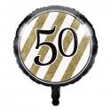 Folieballon black & gold '50' (46cm)