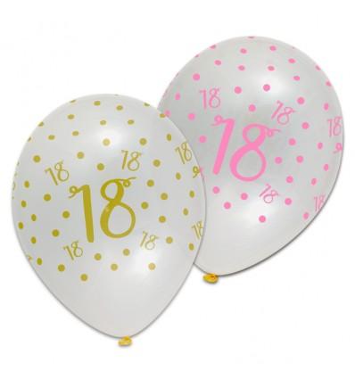 Ballon pink chic '18' (Ø30cm, 6st)