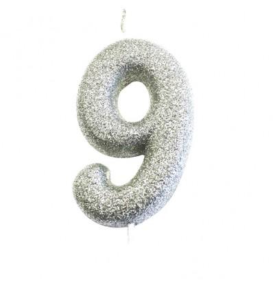 Nummerkaars glitter zilver '9' (7cm)