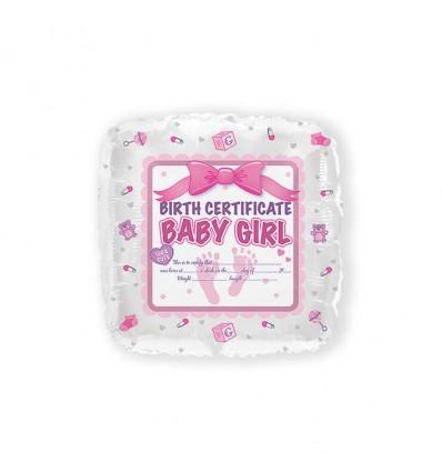 Folieballon baby girl certificate (43cm)