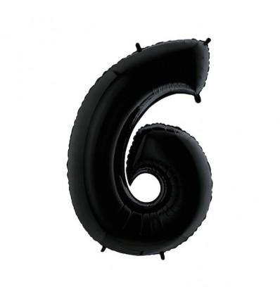 Folieballon cijfer '6' zwart (100cm)