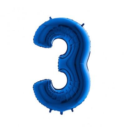 Folieballon cijfer '3' blauw (100cm)