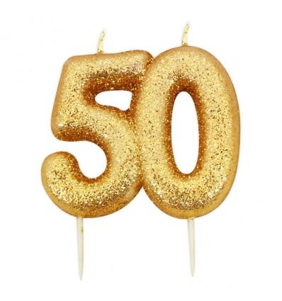 Nummerkaars glitter goud '50' (7cm)