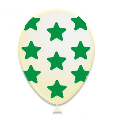 Ballonnen met sterren groen (Ø30cm, 6st)