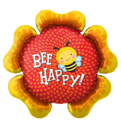 Folieballon 'Bee Happy' flower (86cm)