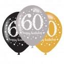Ballonnen sparkling gold '60'(Ø28cm,6st)