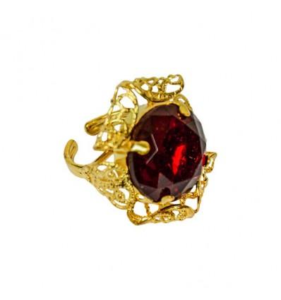 Sinterklaasring ronde steen rood deluxe