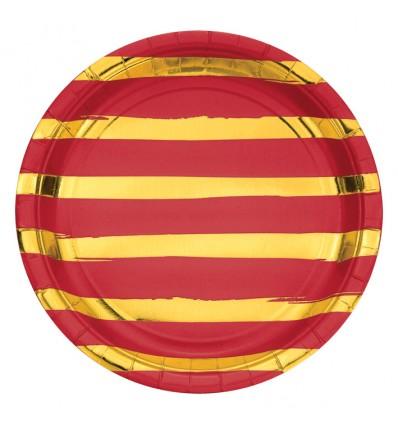 Bordjes classic red foil (Ø23cm, 8st)