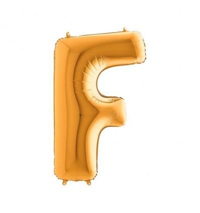 Folieballon letter 'F' goud (100cm)