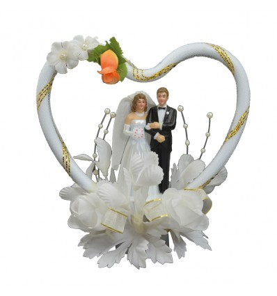 Taartdecoratie bruidspaar in hart (13cm)