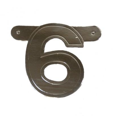 Bannercijfer '6' zilver