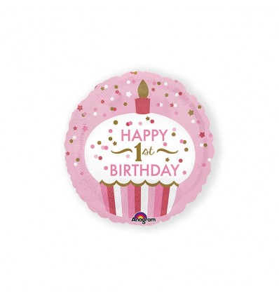 Folieballon cupcake 1st BDAY girl (43cm)