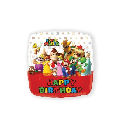 Folieballon Super Mario Bros HBD (43cm)