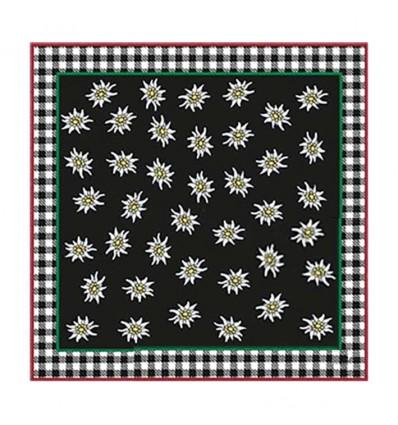 Tiroler sjaal edelweiss zwart