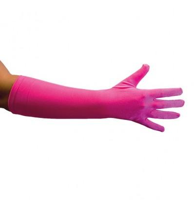 Handschoenen satijn luxe fuchsia (40cm)