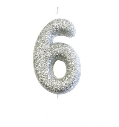 Nummerkaars glitter zilver '6' (7cm)