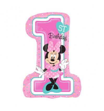 Folieballon Minnie '1st BDAY' SuperShape
