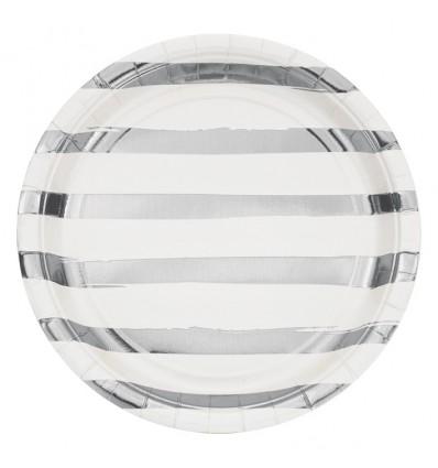 Bordjes white silver foil (Ø23cm, 8st)