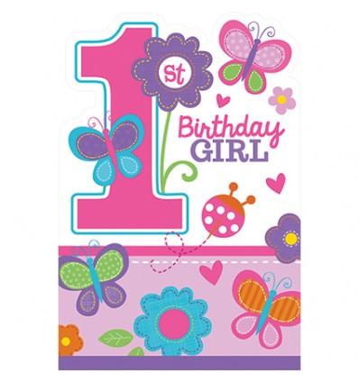 Wonderbaar Uitnodigingen 1e verjaardag meisje (8 stuks) YQ-37