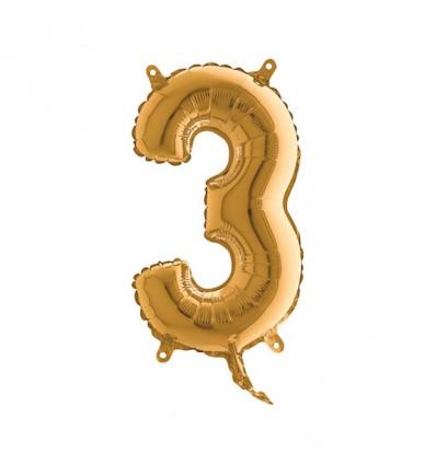 Folieballon cijfer '3' goud (35cm)