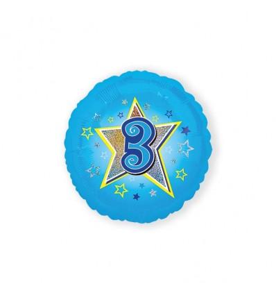 Folieballon blauwe ster '3' (45cm)