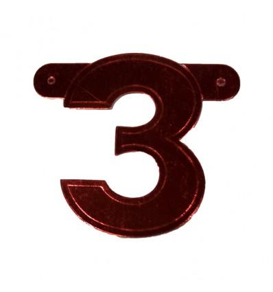 Bannercijfer '3' rood