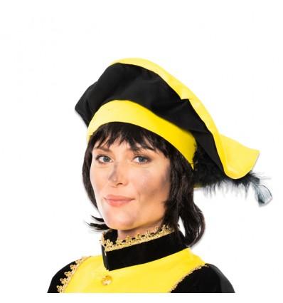 Pietbaret fluweel met veer geel/zwart