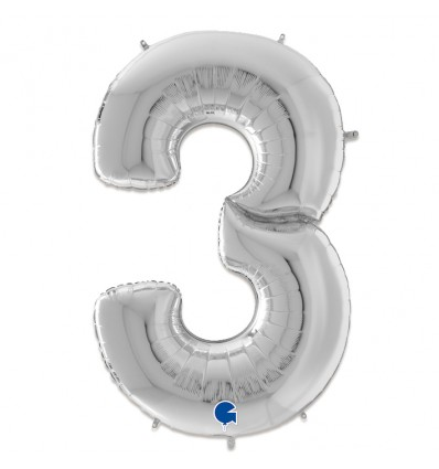 Folieballon cijfer '3' zilver (163cm)