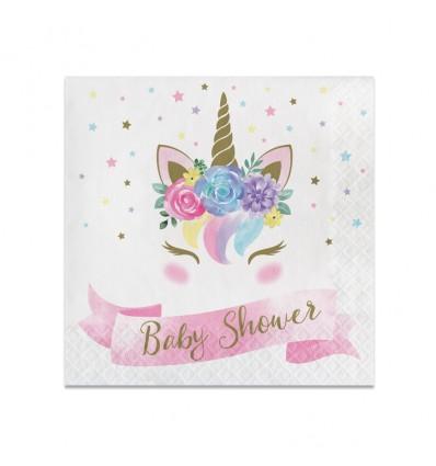 Servetten unicorn baby shower(33cm,16st)