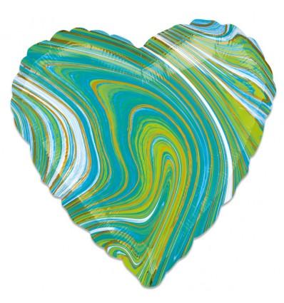Folieballon Marblez hart blauwgroen 43cm