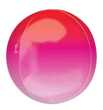 Folieballon Orbz Ombré rood&roze (40cm)